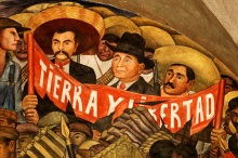 "Part of Diego Rivera's ""History of Mexico"" mural at the National Palace in Mexico City"